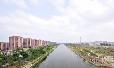 远眺看泗洪:河畔花城方向