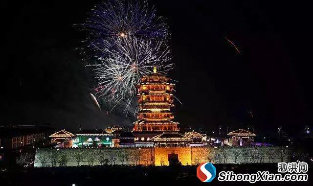 泗洪正月十五元宵焰火晚会古徐阁景区绽放