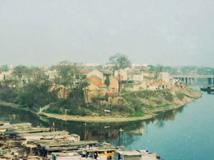 1999年的睢汴河交汇处老照片 现在的泗洪世纪公园千禧塔