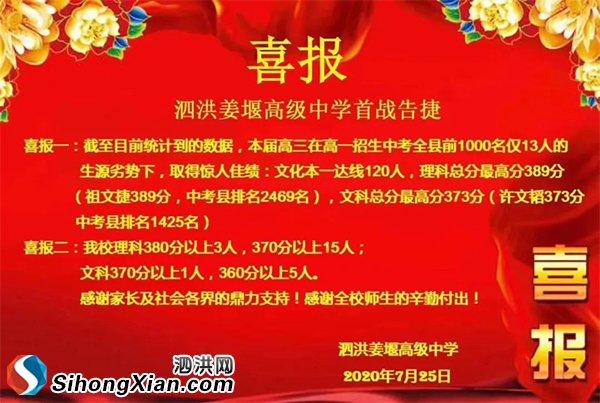 泗洪姜堰高级中学2020年高考成绩喜报!